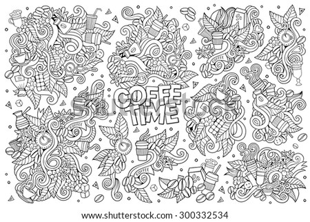 Coffee time doodles hand drawn sketchy vector symbols and objects - stock vector