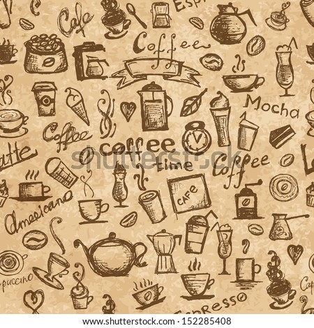 Coffee time, seamless background for your design - stock vector