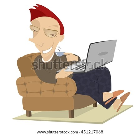 Coffee time. Smiling man sitting in the armchair plays computer and has a cup of coffee