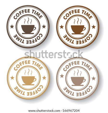 Coffee time stamp paper labels. Eps 10 vector file.