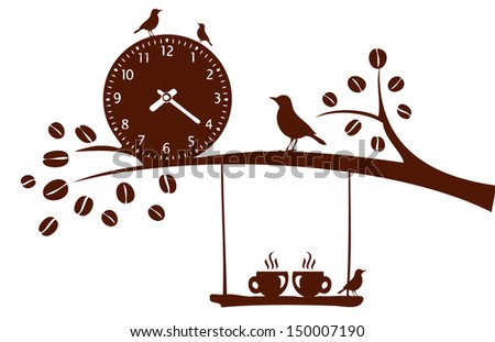 Coffee time. Tree silhouette with cups in love on a swing - stock vector