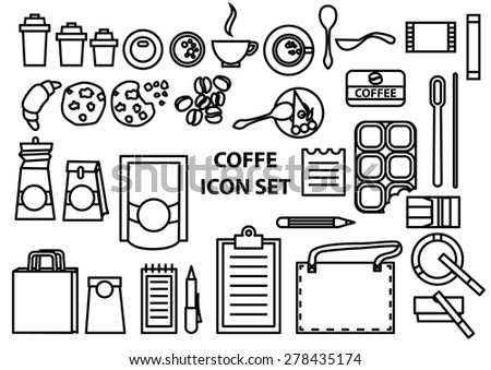 Coffee time vector icons set, thin line style
