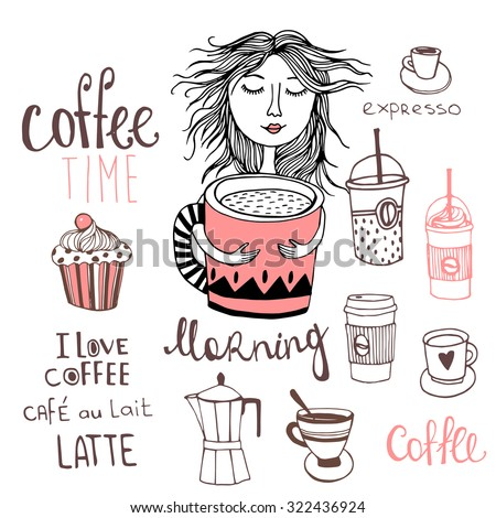 Coffee time with cute girl, Coffee background. Morning Coffee - stock vector