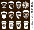 Coffee to go cup set. Coffee cup vector sign, icons. Coffee labels and badges design. - stock vector