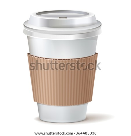 Coffee to go paper cup with lid. Vector icon. - stock vector