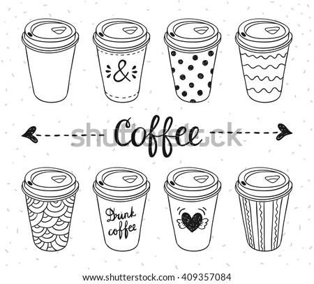 Coffee to go paper cups hand drawn vector illustration. Hot drinks take away concept - stock vector