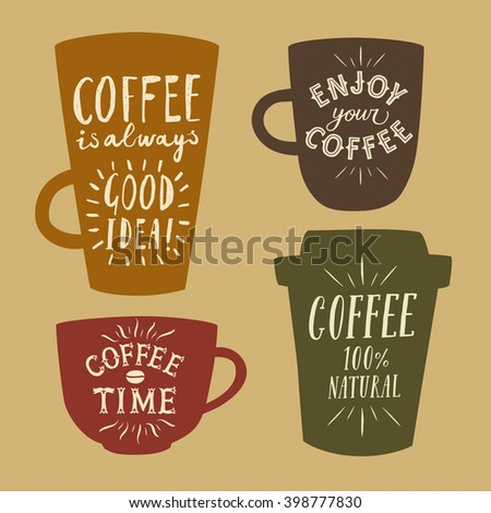Coffee to go textured cartoon illustrations set with hand drawn lettering on different cups. Vintage colors coffee illustrations for your design. - stock vector