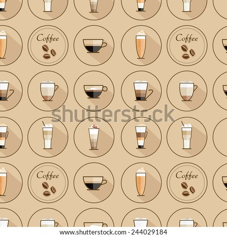 coffee types icons seamless pattern in trendy flat design style- can be used as coffee shop wallpaper, interior design, tablecloth patterns, menu covers