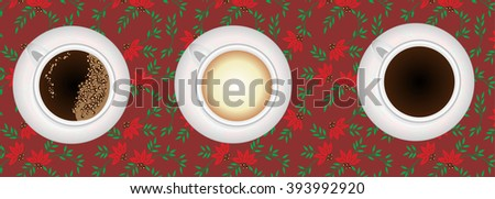 Coffee types illustration. Three coffee cups on decorated background - stock vector