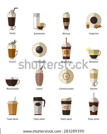 Coffee types vector flat icons set. Latte romano frappe glace take away correta mocha irish ristretto americano cappuccino espresso. Vector illustration - stock vector