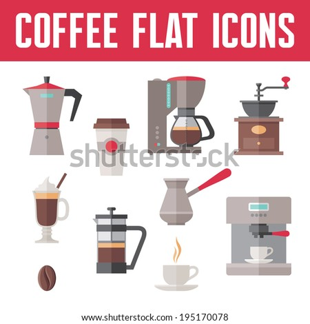 Coffee Vector Icons In Flat Design Style for menu, booklet, website etc. - stock vector