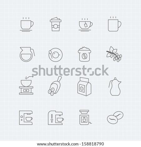Coffee vector thin line symbol icon  - stock vector