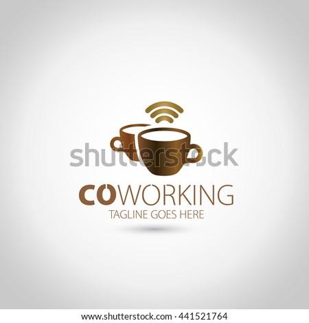 Coffee Wifi Logo - stock vector