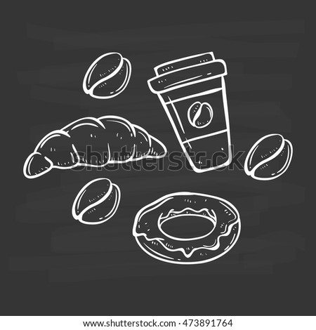 coffee with donut and croissant using doodle art on chalkboard background