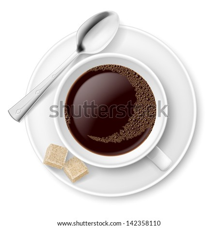 Coffee with sugar. Illustration on white background for design - stock vector