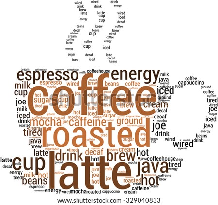Coffee Word Cloud On White Background Stock Vector HD (Royalty Free ...