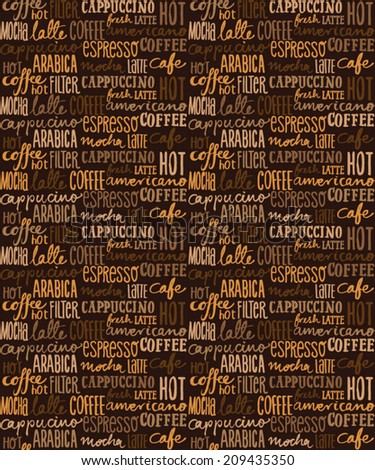 Coffee words seamless background