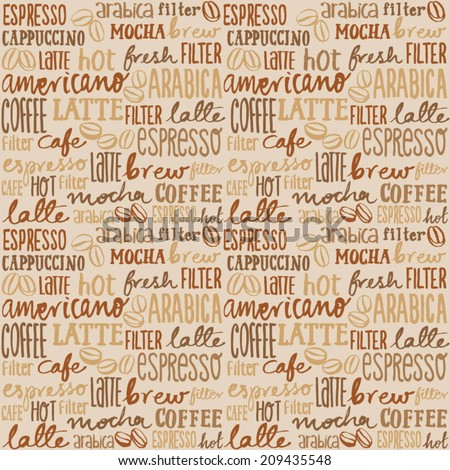 Coffee words seamless background - stock vector