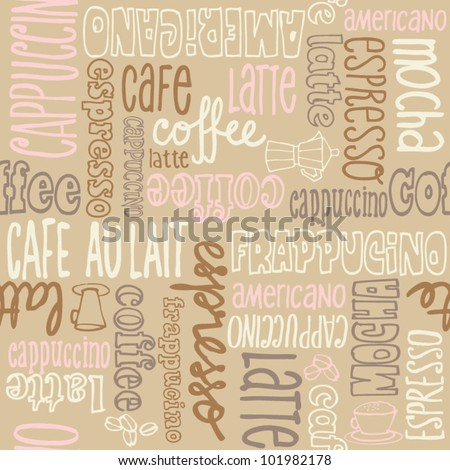 Coffee words seamless background pattern - stock vector