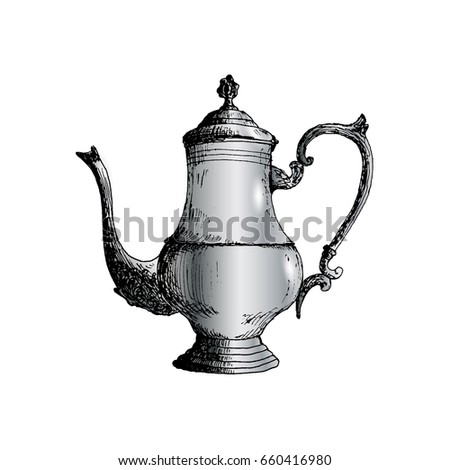 Coffeepot Hand Drawn Sketch Vector illustration
