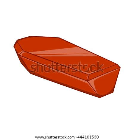 Coffin icon in cartoon style isolated on white background. Death symbol - stock vector