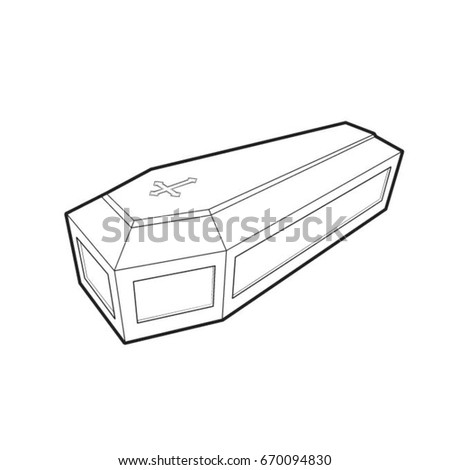 coffin in black outline-vector drawing