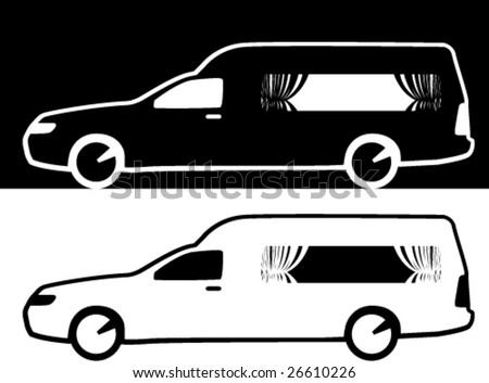 Coffin Transport Limousine black/white - stock vector