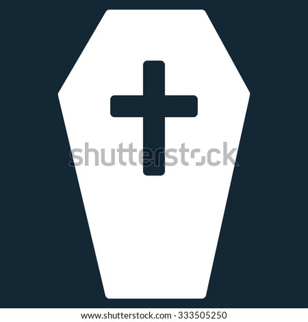 Coffin vector icon. Style is flat symbol, white color, rounded angles, dark blue background.