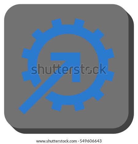 Cog Integration vector icon. Image style is a flat icon symbol inside a rounded square button, blue and gray colors.