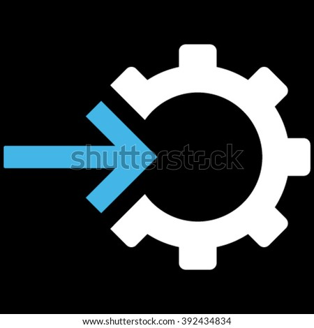 Cog Integration vector icon. Picture style is bicolor flat cog integration icon drawn with blue and white colors on a black background. - stock vector