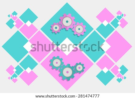 Cog settings, Cogwheel gear mechanism icon sign. Round symbol on bright colourful rhombus. Vector illustration