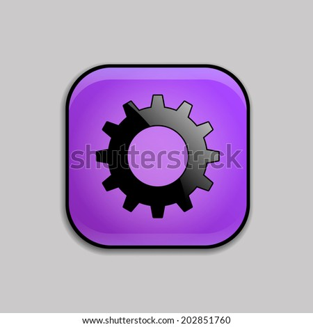 Cog settings icon on violet button. Vector Illustration - stock vector