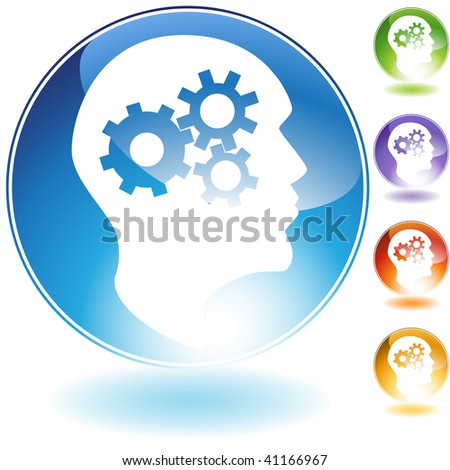 Cog wheel mind crystal icon isolated on a white background. - stock vector