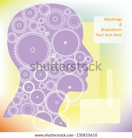 cog wheels forming a brain shape in the head shape. the concept of human intelligence. Head and Brain Gears in Progress - stock vector
