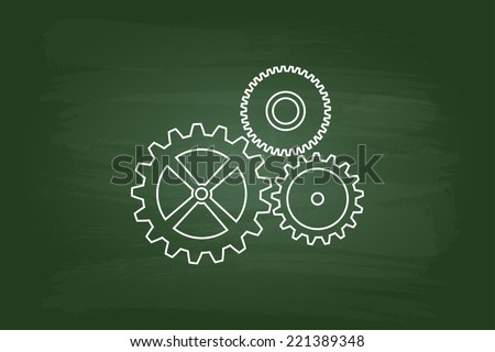 Cog Wheels Mechanism On Green Chalkboard - stock vector