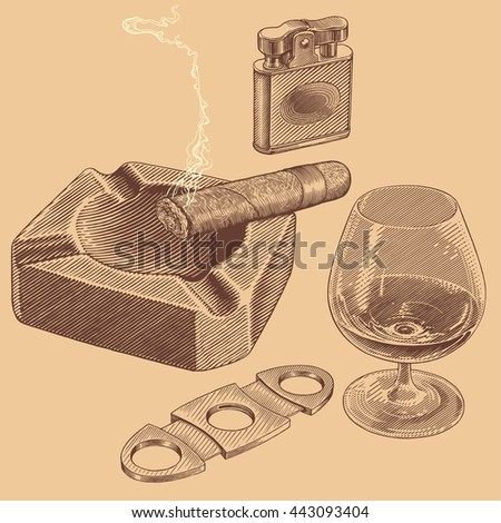 Cognac and Cigar. Hand drawn engraving. Vector vintage illustration. 8 EPS - stock vector