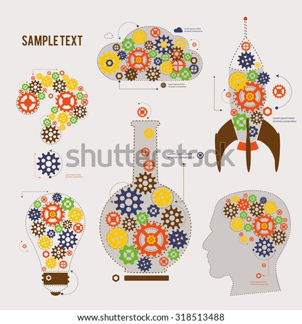Cogs and gears form Symbols. Vector Illustration. - stock vector