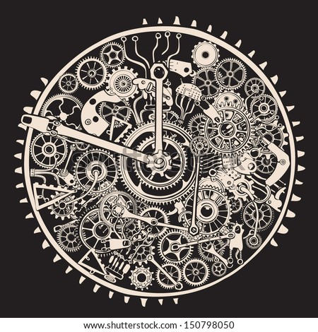 Cogs and Gears of Clock. - stock vector