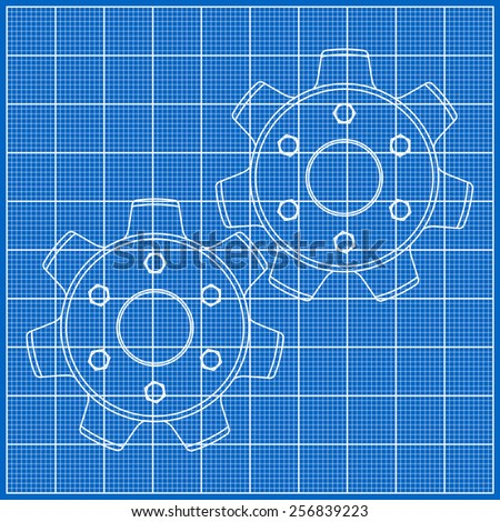 Cogs gears on blueprint paper vector stock photo photo vector cogs gears on blueprint paper vector illustration malvernweather Gallery