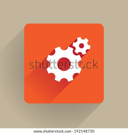 Cogs icon in flat style - stock vector