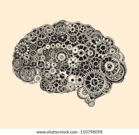 Cogs in the shape of a human brain. - stock vector