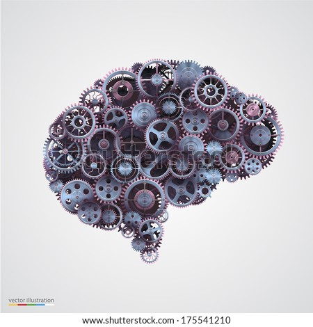 Cogs in the shape of a human brain. Vector illustration. - stock vector