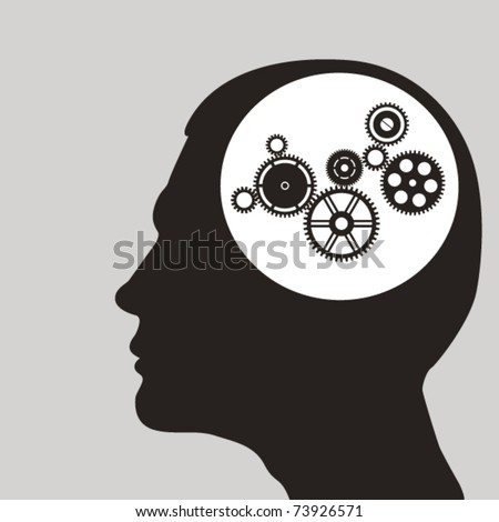 Cogs or gears in human head. Vector illustration - stock vector
