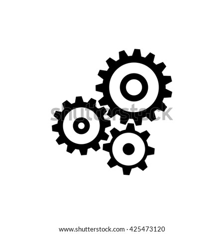 Cogwheel gear mechanism icon. Black icon isolated on white background. Mechanism silhouette. Simple icon. Web site page and mobile app design vector element. - stock vector