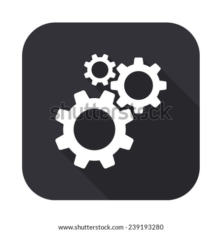 cogwheel gear mechanism icon - vector illustration with long shadow isolated on gray - stock vector