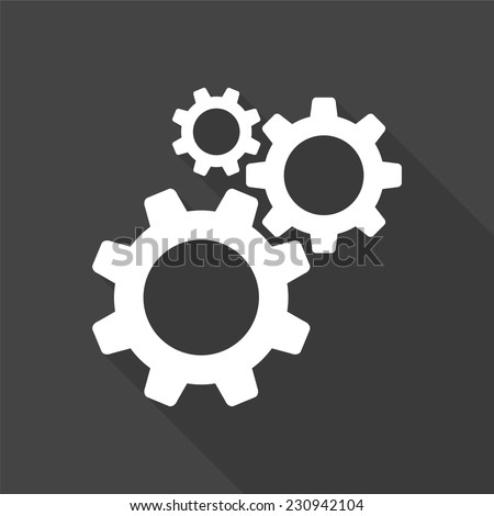 cogwheel gear mechanism vector settings icon - vector illustration with long shadow isolated on gray  - stock vector