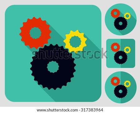 Cogwheel icon. Bike parts. Flat long shadow design. Bicycle icons series. - stock vector