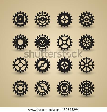Cogwheel Icon Set | EPS 10 - stock vector