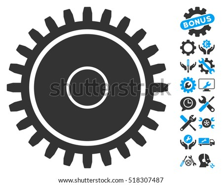 Cogwheel icon with bonus setup tools pictures. Vector illustration style is flat iconic blue and gray symbols on white background.
