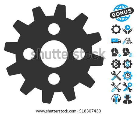 Cogwheel pictograph with bonus service pictograms. Vector illustration style is flat iconic blue and gray symbols on white background.